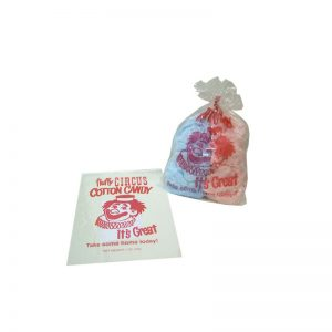 Printed 1oz Cotton Candy Bags with Fluffy Circus Clown Design